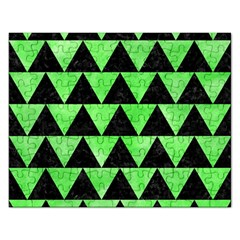 Triangle2 Black Marble & Green Watercolor Rectangular Jigsaw Puzzl