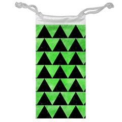 Triangle2 Black Marble & Green Watercolor Jewelry Bag