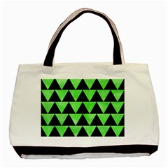 Triangle2 Black Marble & Green Watercolor Basic Tote Bag