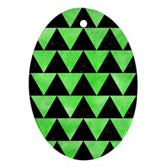 Triangle2 Black Marble & Green Watercolor Oval Ornament (two Sides)