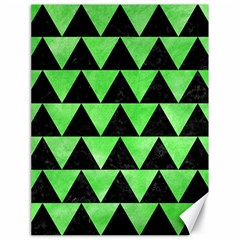 Triangle2 Black Marble & Green Watercolor Canvas 18  X 24