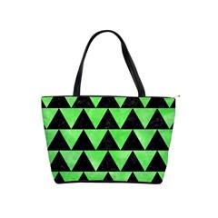 Triangle2 Black Marble & Green Watercolor Shoulder Handbags