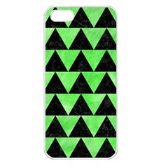 Triangle2 Black Marble & Green Watercolor Apple Iphone 5 Seamless Case (white)