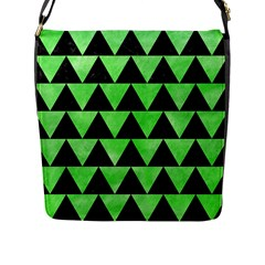 Triangle2 Black Marble & Green Watercolor Flap Messenger Bag (l)