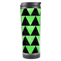 Triangle2 Black Marble & Green Watercolor Travel Tumbler