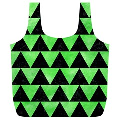 Triangle2 Black Marble & Green Watercolor Full Print Recycle Bags (l)