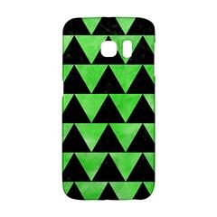 Triangle2 Black Marble & Green Watercolor Galaxy S6 Edge