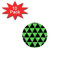 Triangle3 Black Marble & Green Watercolor 1  Mini Buttons (10 Pack)