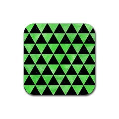 Triangle3 Black Marble & Green Watercolor Rubber Coaster (square)