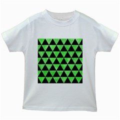 Triangle3 Black Marble & Green Watercolor Kids White T Shirts