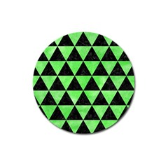 Triangle3 Black Marble & Green Watercolor Magnet 3  (round)