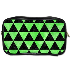 Triangle3 Black Marble & Green Watercolor Toiletries Bags