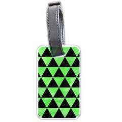 Triangle3 Black Marble & Green Watercolor Luggage Tags (two Sides)