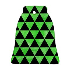 Triangle3 Black Marble & Green Watercolor Ornament (bell)