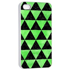 Triangle3 Black Marble & Green Watercolor Apple Iphone 4/4s Seamless Case (white)