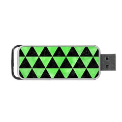 Triangle3 Black Marble & Green Watercolor Portable Usb Flash (one Side)