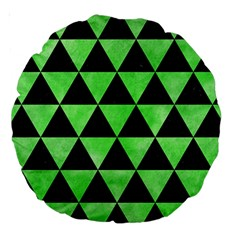 Triangle3 Black Marble & Green Watercolor Large 18  Premium Round Cushions