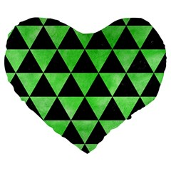 Triangle3 Black Marble & Green Watercolor Large 19  Premium Heart Shape Cushions