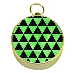 Triangle3 Black Marble & Green Watercolor Gold Compasses