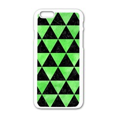 Triangle3 Black Marble & Green Watercolor Apple Iphone 6/6s White Enamel Case