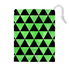 Triangle3 Black Marble & Green Watercolor Drawstring Pouches (extra Large)
