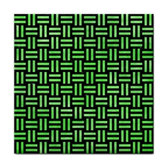 Woven1 Black Marble & Green Watercolor Tile Coasters