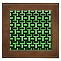 Woven1 Black Marble & Green Watercolor Framed Tiles