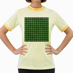 Woven1 Black Marble & Green Watercolor Women s Fitted Ringer T Shirts