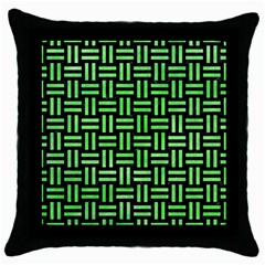 Woven1 Black Marble & Green Watercolor Throw Pillow Case (black)