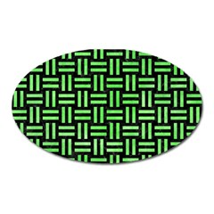 Woven1 Black Marble & Green Watercolor Oval Magnet