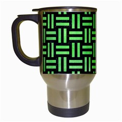 Woven1 Black Marble & Green Watercolor Travel Mugs (white)