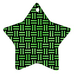 Woven1 Black Marble & Green Watercolor Star Ornament (two Sides)