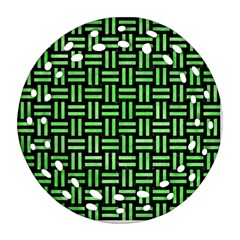 Woven1 Black Marble & Green Watercolor Round Filigree Ornament (two Sides)