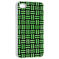 Woven1 Black Marble & Green Watercolor Apple Iphone 4/4s Seamless Case (white)