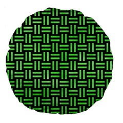 Woven1 Black Marble & Green Watercolor Large 18  Premium Flano Round Cushions