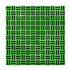 Woven1 Black Marble & Green Watercolor (r) Tile Coasters