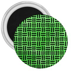 Woven1 Black Marble & Green Watercolor (r) 3  Magnets