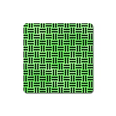 Woven1 Black Marble & Green Watercolor (r) Square Magnet