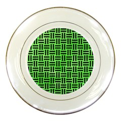 Woven1 Black Marble & Green Watercolor (r) Porcelain Plates