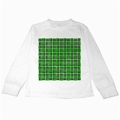 Woven1 Black Marble & Green Watercolor (r) Kids Long Sleeve T Shirts