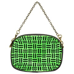 Woven1 Black Marble & Green Watercolor (r) Chain Purses (one Side)