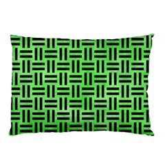 Woven1 Black Marble & Green Watercolor (r) Pillow Case