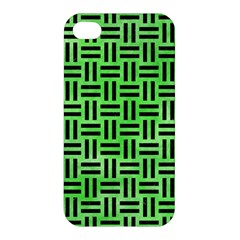 Woven1 Black Marble & Green Watercolor (r) Apple Iphone 4/4s Premium Hardshell Case