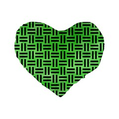 Woven1 Black Marble & Green Watercolor (r) Standard 16  Premium Heart Shape Cushions