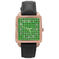 Woven1 Black Marble & Green Watercolor (r) Rose Gold Leather Watch