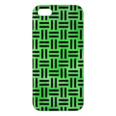 Woven1 Black Marble & Green Watercolor (r) Iphone 5s/ Se Premium Hardshell Case