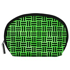 Woven1 Black Marble & Green Watercolor (r) Accessory Pouches (large)