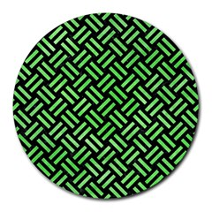Woven2 Black Marble & Green Watercolor Round Mousepads