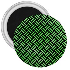 Woven2 Black Marble & Green Watercolor 3  Magnets