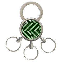 Woven2 Black Marble & Green Watercolor 3 Ring Key Chains